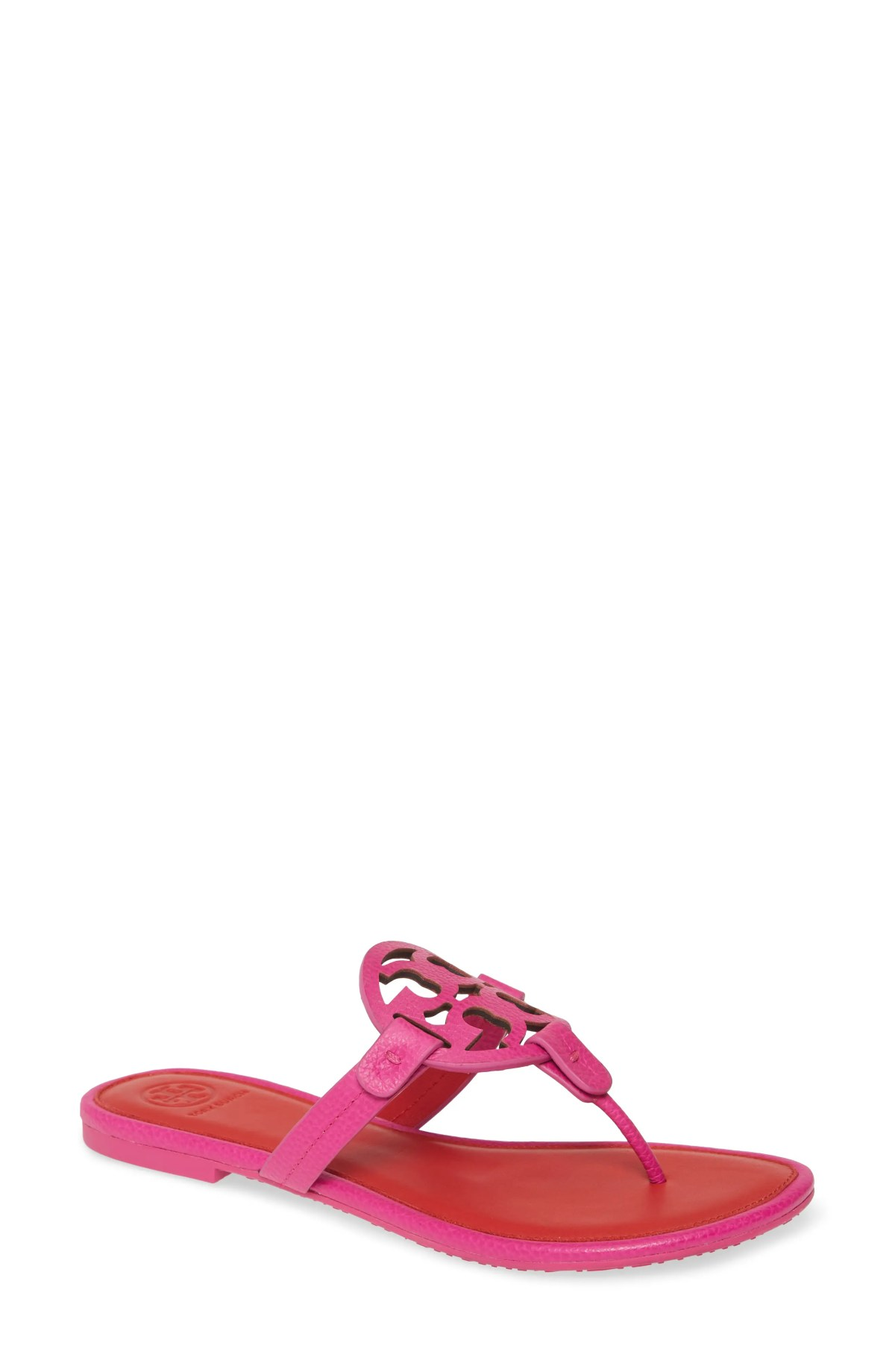 TORY BURCH Miller Flip Flop, Main, color, IMPERIAL PINK/ BRILLIANT RED
