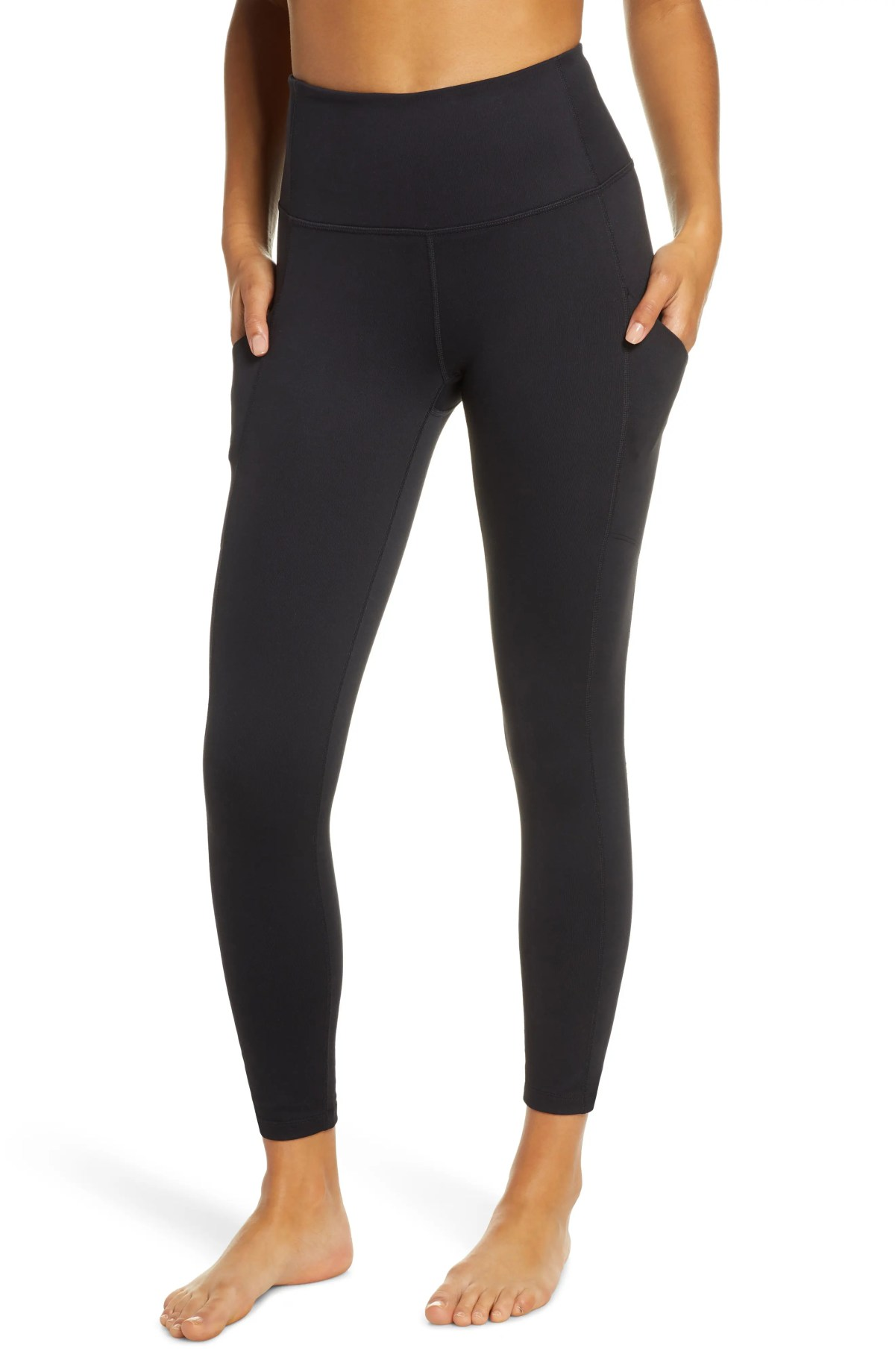 ZELLA Live In High Waist Pocket 7/8 Leggings, Main, color, BLACK