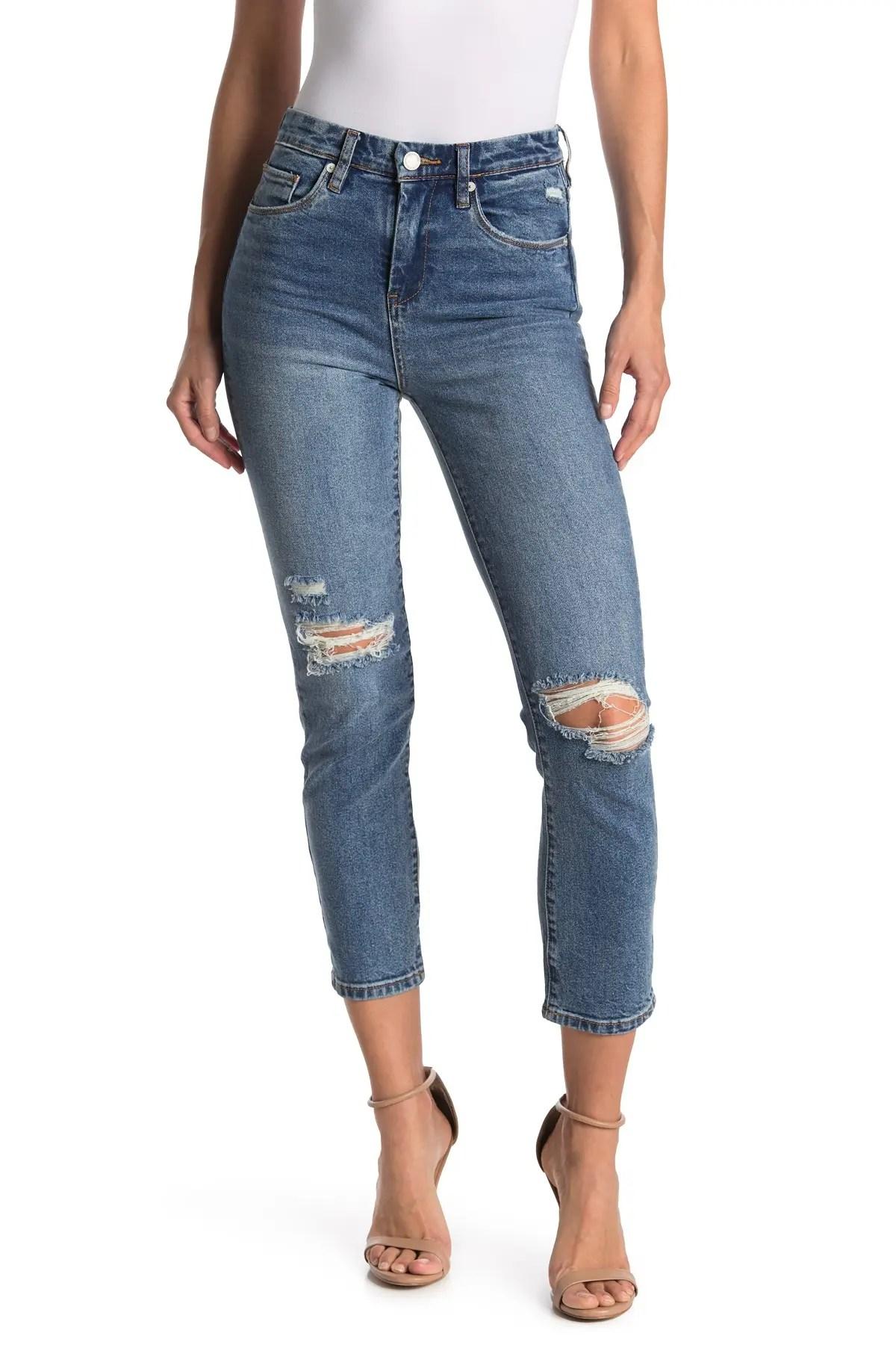 blanknyc denim distressed cropped straight leg jeans nordstrom rack