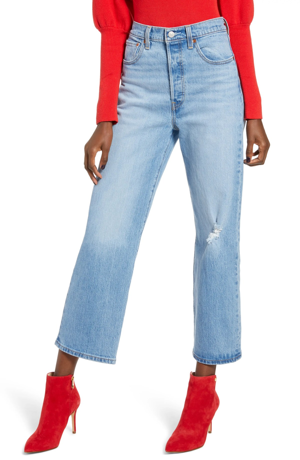 LEVI'S<SUP>®</SUP> Ribcage Super High Waist Ankle Straight Leg Jeans, Main, color, TANGO BLUE