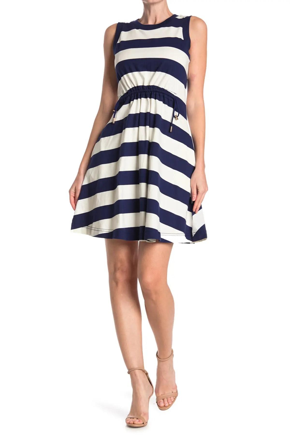kate spade new york bold stripe pointed cinched waist dress nordstrom rack