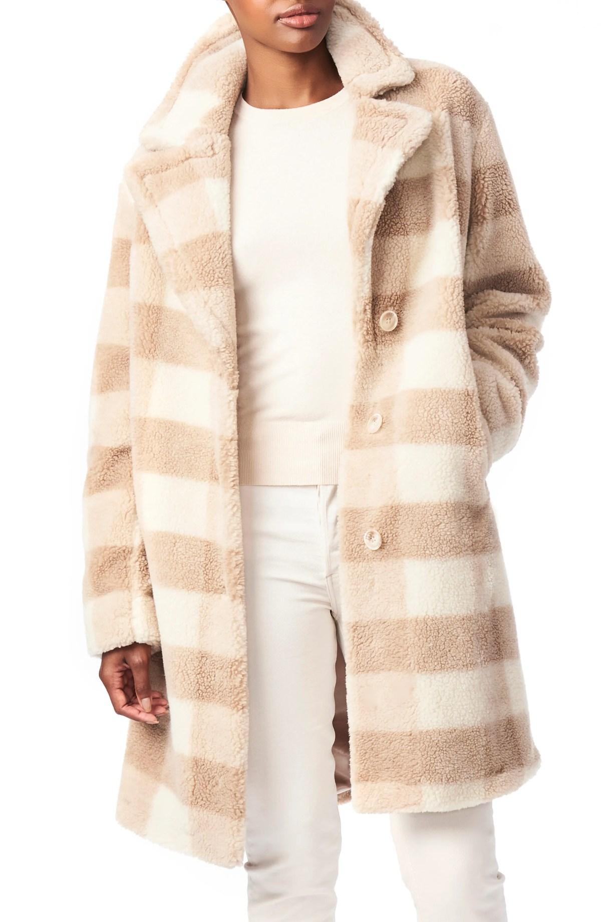 BERNARDO Check Teddy Faux Fur Coat, Main, color, BEIGE PLAID