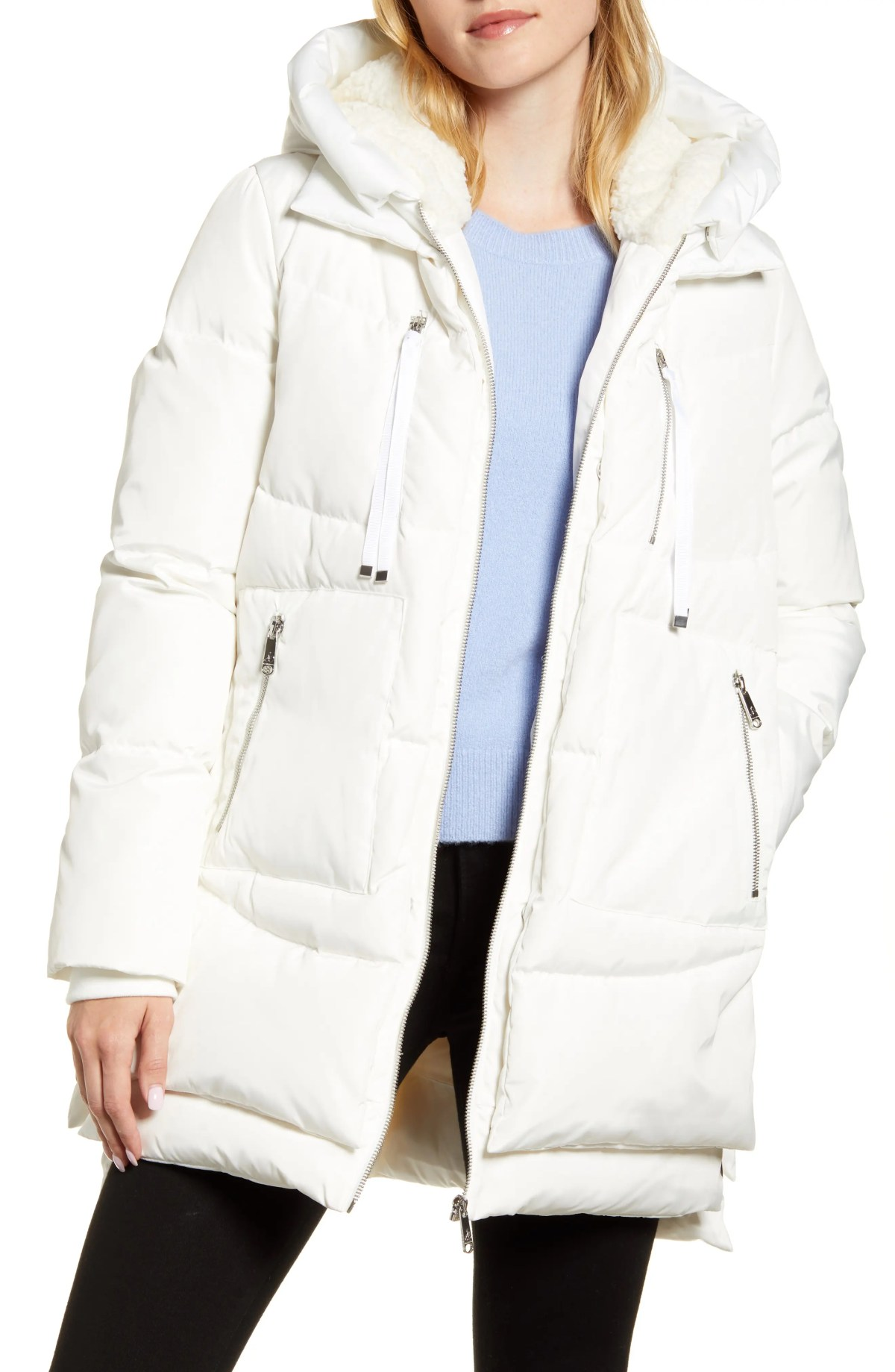 SAM EDELMAN Faux Shearling Lined Puffer Coat, Main, color, WHITE