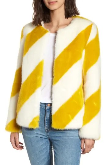 Sam Edelman Collarless Chubby Faux Fur Jacket