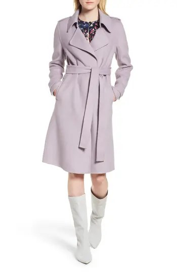 Badgley Mischka Double Face Wool Blend Wrap Front Coat (Regular & Petite)