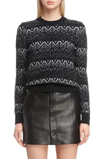c13eadbd4 Women's Saint Laurent Metallic Mohair Zigzag Sweater, Size X-Small – Black  – NORDSTROM.com – $1,290.00