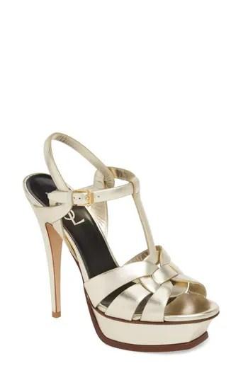 349a1a94e ...  995.00 – Women s Saint Laurent Tribute Metallic Platform Sandal