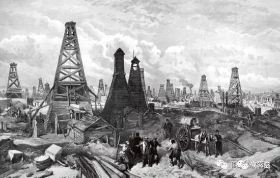 """19世纪中后期,描绘美国东部开采石油的画作。在钻井林立的油田上,无数冒险家追逐着被称为""""黑金""""的石油,希望一夜暴富。"""