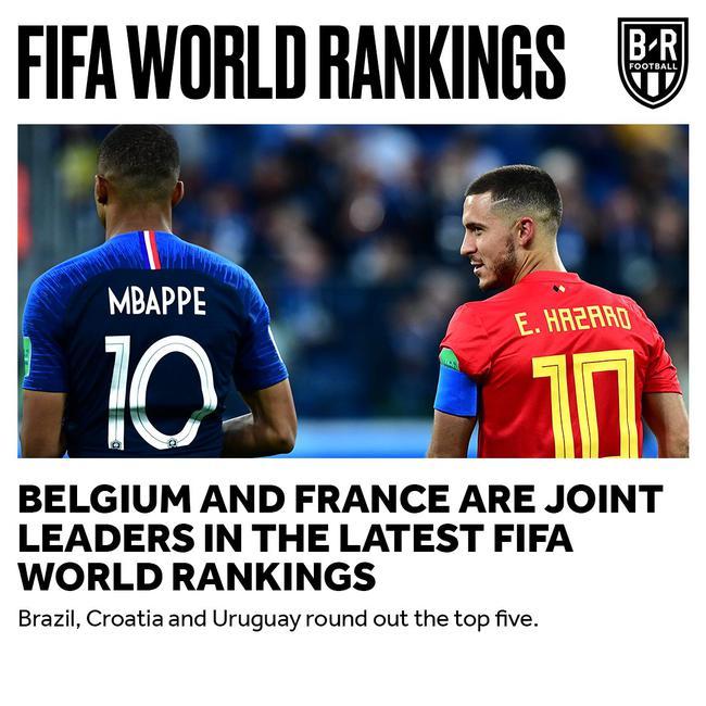 FIFA最新排名:比利時法國并列第1 國足亞洲第7_國際足球_新浪競技風暴_新浪網