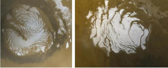 火星的南北兩極覆蓋有冰蓋,由乾冰和水冰混合而成。 左圖為夏天的火星北極,右圖為火星南極。 |NASA/JPL/MSSS