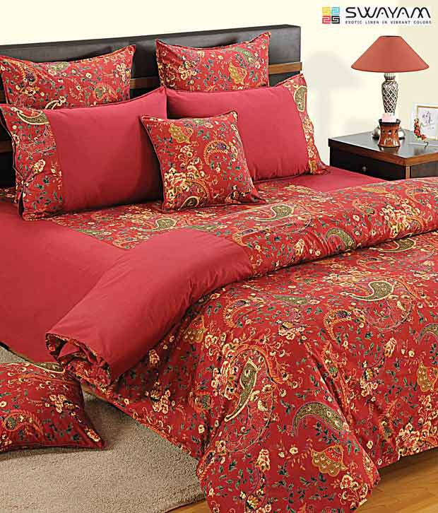 Swayam Red Paisley Print Comforter Buy Swayam Red