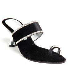 Do Bhai-Shoebazaar Appealing Black Heeled Slip-on