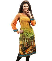 Admyrin Orange Colour Crepe Digital Printed Kurti
