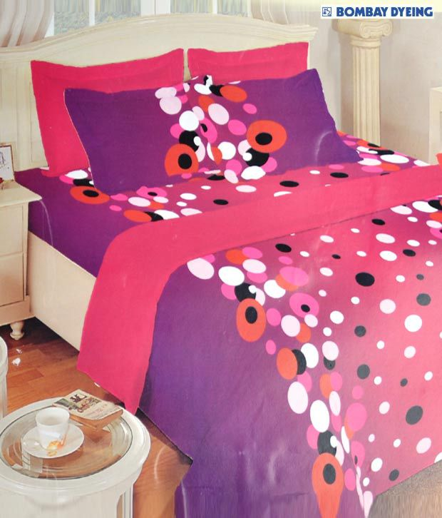 Bombay Dyeing Purple Amp Pink Cotton Double Bed Sheet Set