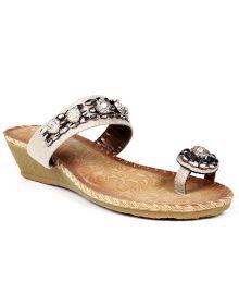 Steppings Appealing Cream Heeled Slip-ons