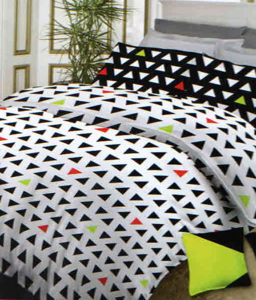 Bombay Dyeing Neon Dots King Size Bed Sheet Set With 2