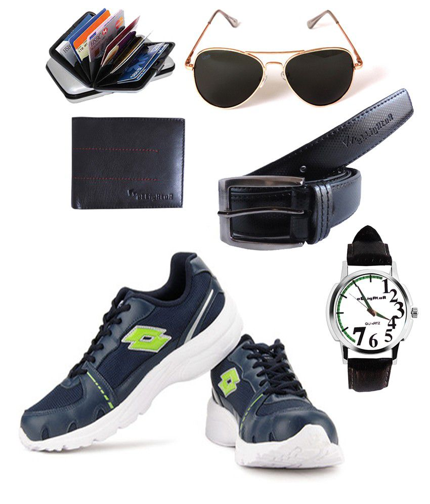 Combo Of Lotto Tracker Shoes With Elligator Watch, Sungless, Belt, Wallet & Card Holder