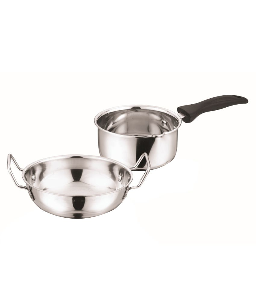 Kitchen Essentials Stainless Steel Kadai And Sauce Pan Set