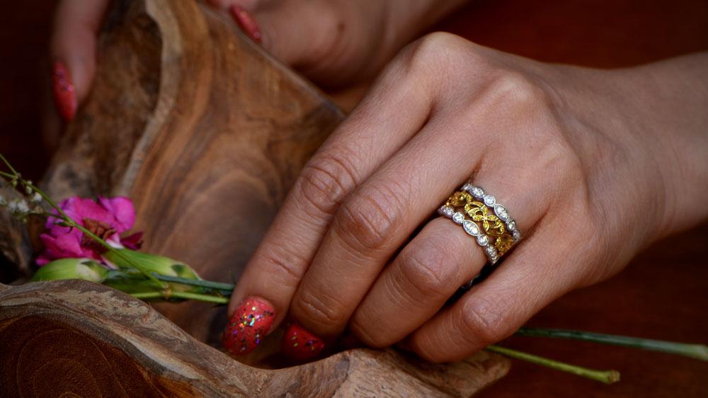 Stacking Diamond and Yellow Diamond Wedding Bands