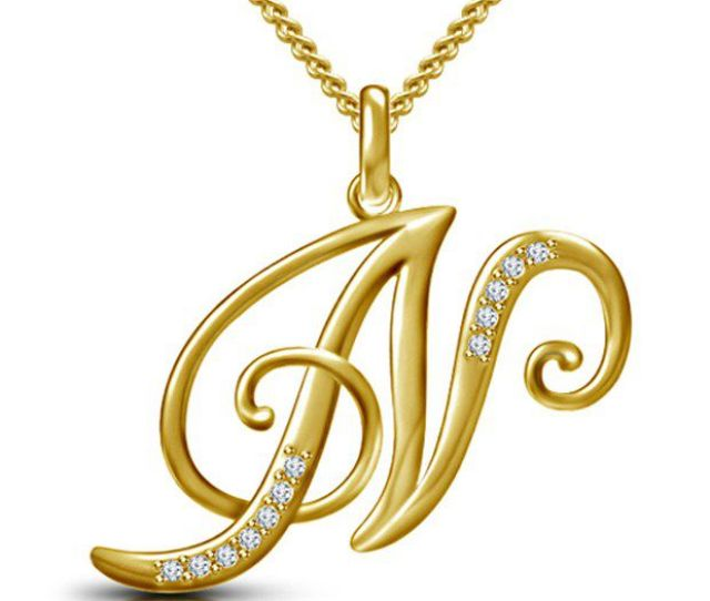 Kataria Jewellers Letter N Gold Plated 92 5 Sterling Silver And Swarovski Alphabet Initial Pendant