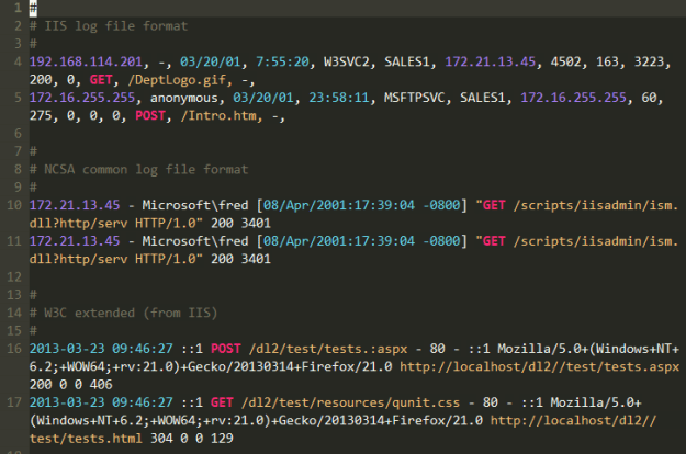 The vim log file syntax highlighting plugin screenshot. Look at those pretty colors.