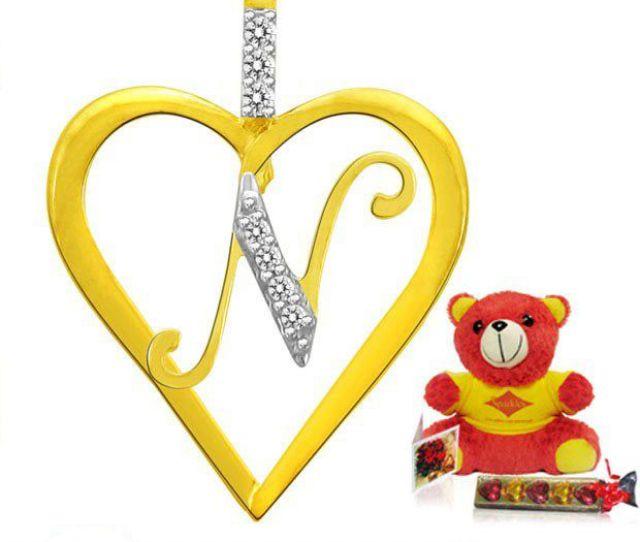 Sparkles Letter N Heart Shape Pendant