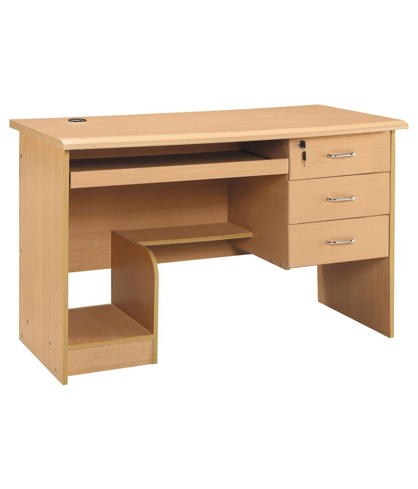 3 Drawer Computer Table In Natural Finish Buy 3 Drawer