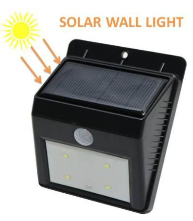 Bentag 4 LED 1W Solar Motion Sensor Outdoor Wall Light - Pack of 1
