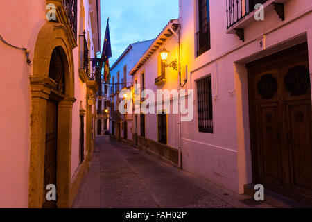 Ronda Spain narrow pedestrian street between houses ...