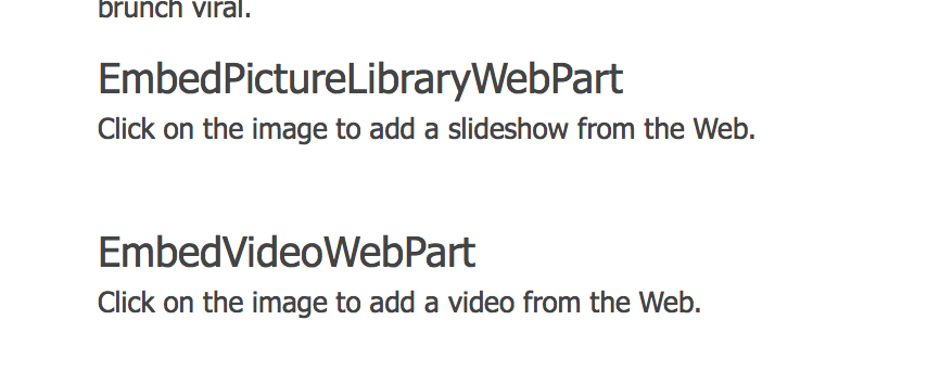 New webparts embedded on page