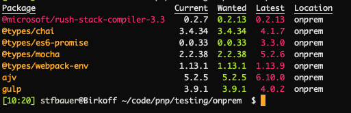 npm outdates shows that it can be upgraded to the latest patch version