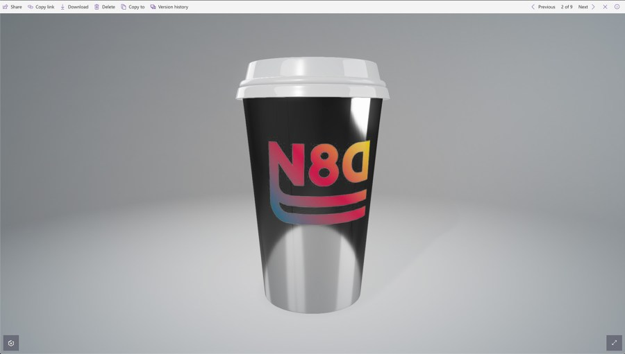 Metalic coffee cup with logo in SharePoint