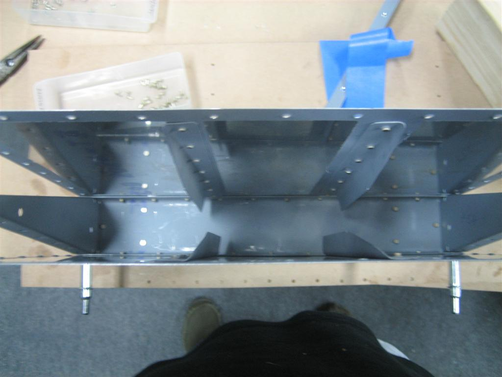 Here are the skins riveted to the spar. Notice how I didn't make the jig to hold it to the table.