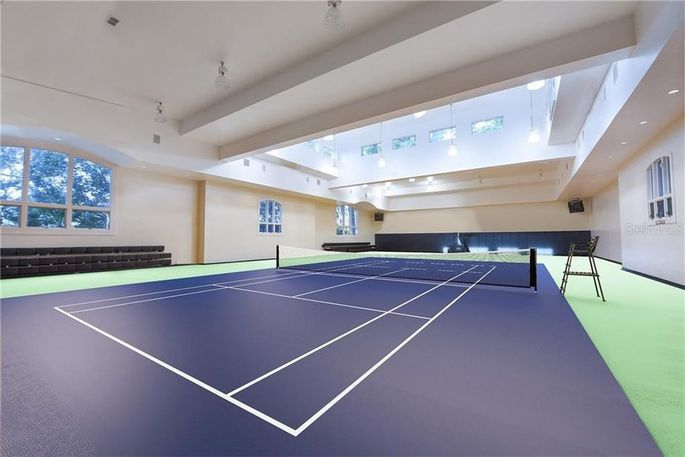 Shaq's gym as it could be with a tennis court