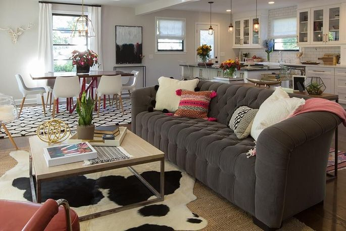 The great room of a Nashville, TN, home renovated by Jonathan and Drew Scott