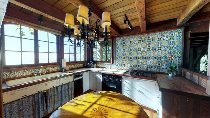 Kitchen with colorful tile
