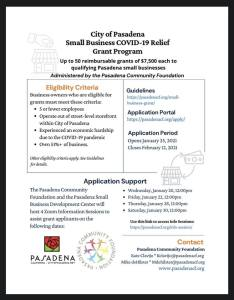 Pasadena Small Business COVID-19 Relief Grant Program