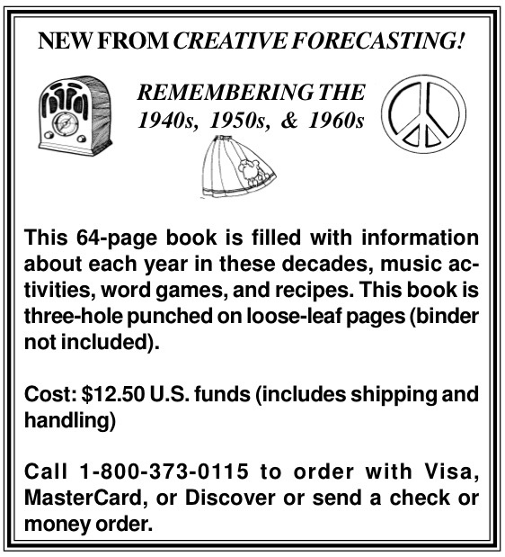 News from Creative Forecasting!