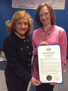Commissioner of the New York State Office of Alcoholism and Substance Abuse Services Arlene González-Sánchez presenting Kirsty Cardinale, Director of Marketing & Communications at NAAP, with the Proclamation establishing Problem Gambling Awareness Day on March 30, 2016, in Albany, NY.""