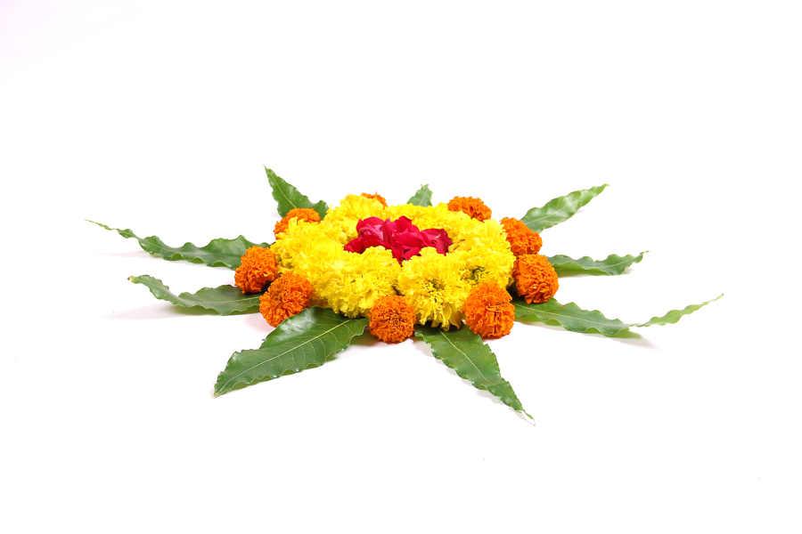 Eco-Friendly Flower Rangoli for Diwali