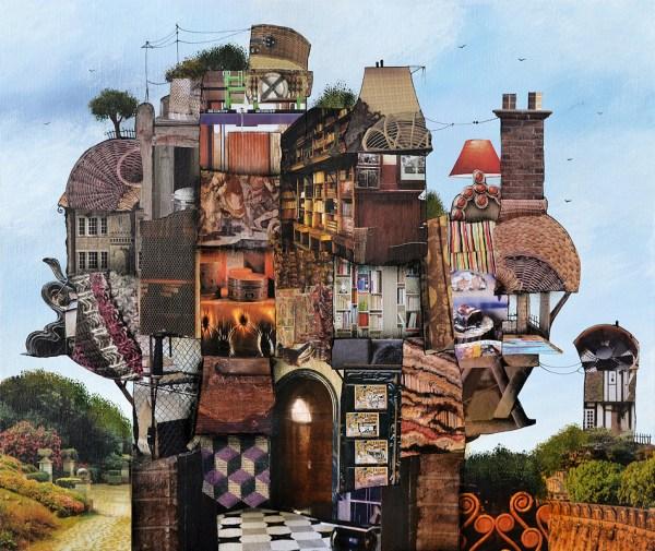 Collage et acrylique sur toile 55x46 cm - allee du parc -nabarus 2016