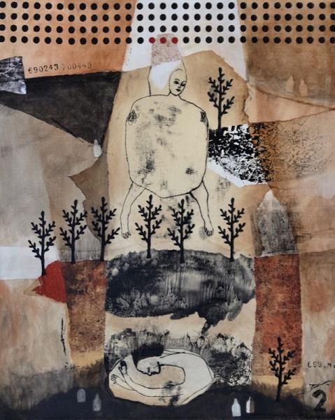 Technique mixte 50x61 cm - paysage - nabarus