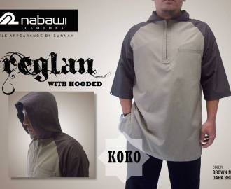 nabawi clothes baju koko reglan hooded coklat