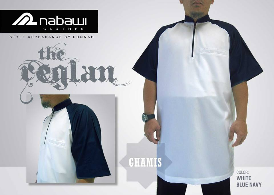 nabawi clothes gamis reglan white blue navy