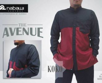 NabawiClothes baju koko the avenue long black maroon