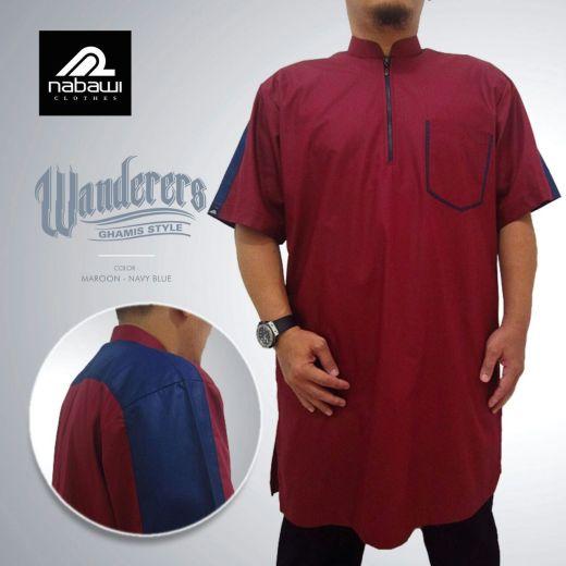 nabawiclothes - baju gamis pakistan wanderers lengan pendek merah marun