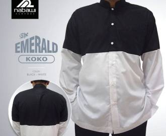 nabawiClothes.com - baju koko the emerald putih hitam 3xl