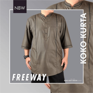 Koko Kurta From Bandung Freeway Series hijau abu tua army