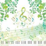 ト音記号と音符と鍵盤
