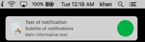 Show notification in cocoa xcode app using Swift 3.0.1